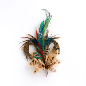 Mixed Heart Feather Hat Pin / Lapel Pin / Brooch in a copper cone on a white background.