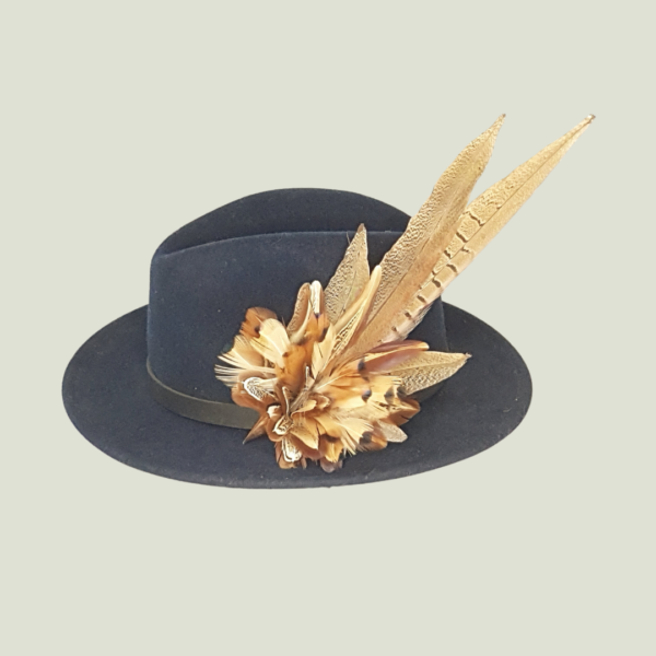 cock pheasant on navy hat