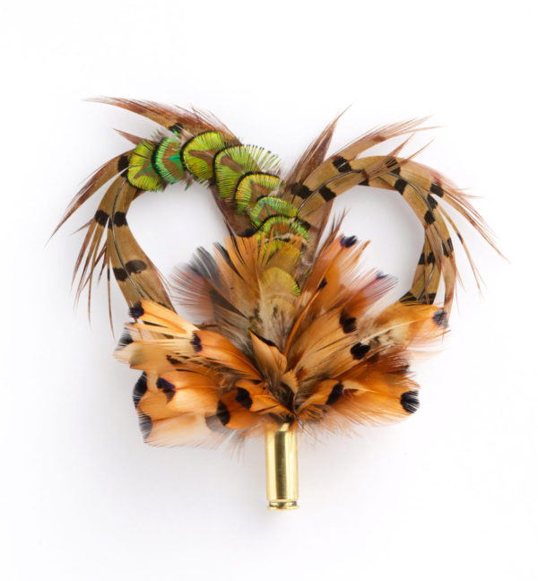 Heart with Peacock Gold Chain Feather Hat Pin Brooch Lapel Pin on a white background.