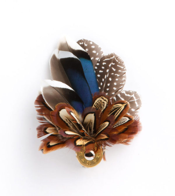 Mixed Feather Combo Hat Pin / Brooch / Lapel Pin set in a 12 bore cartridge base on a white background.