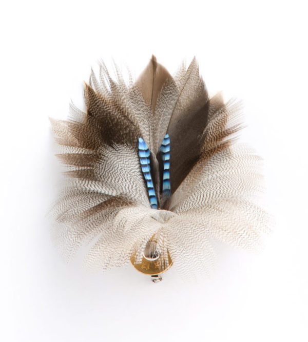 Blue Jay with White Mallard Feather Hat Pin/Brooch on a white background.