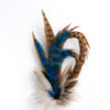 Large Peacock Blue Feather Hat Pin set in a silver cone base on a white background.