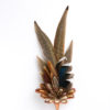Large Pheasant and Mallard Feather Hat Pin in a copper cone on a white background.