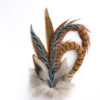 Large Blue Jay Feather Hat Pin on a white background.