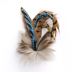 Medium Blue Jay Feather Hat Pin Brooch on a white background.